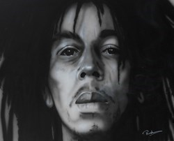 Bob Marley I by Paul Karslake - Orig Monochrome Airbrush W/Diamond Dust on Canvas sized 39x32 inches. Available from Whitewall Galleries